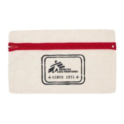 10oz organic canvas printed pencil cases with red zip pfn1261