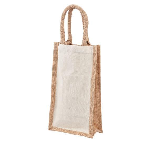 10oz salisbury cotton jute promotional wine bottle bags pfn1186