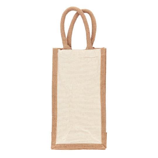 10oz salisbury cotton jute printed wine bottle bags pfn1186
