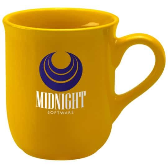 270ml earthenware promotional bell mugs in yellow pfn1273
