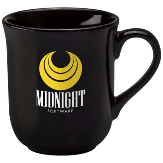 270ml earthenware promotional bell mugs in black pfn1273