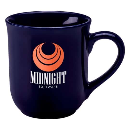270ml earthenware promotional bell mugs in blue pfn1273