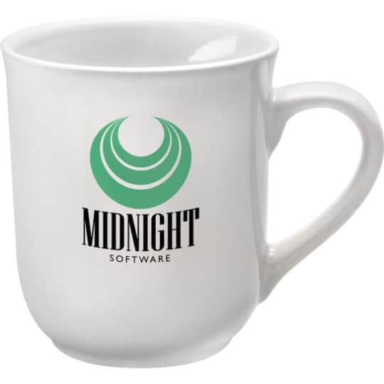 270ml earthenware promotional bell mugs in white pfn1273
