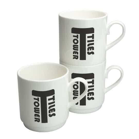 275ml Bone china stacking promotional mugs pfn1299