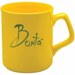 300ml earthenware printed sparta mugs in yellow pfn1272