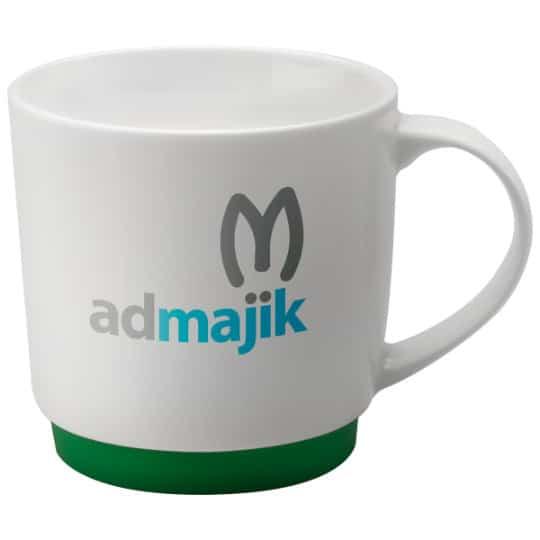 300ml porcelain paris promotional mugs in green pfn1290