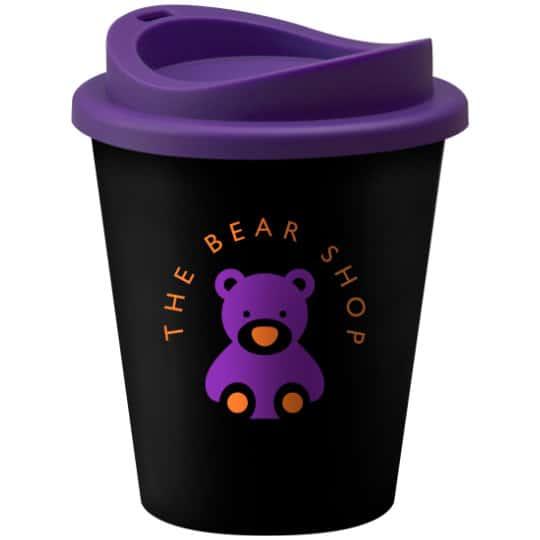 320ml universal vending printed travel mugs in black and purple pfn1305