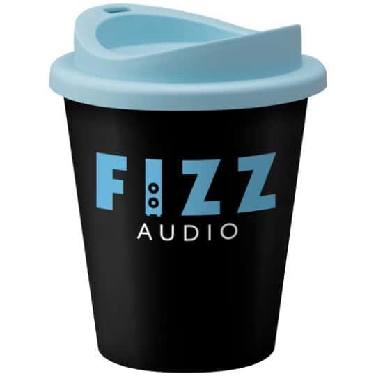 320ml universal vending printed travel mugs in black and blue pfn1305