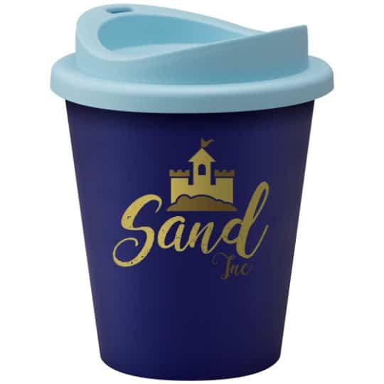320ml universal vending printed travel mugs in dark and light blue pfn1305