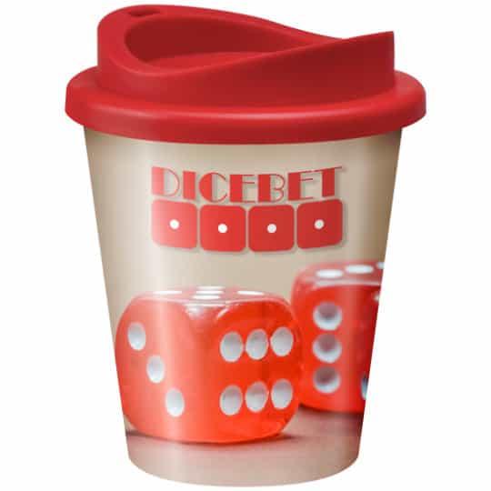 320ml universal vending printed travel mugs with red lid pfn1305