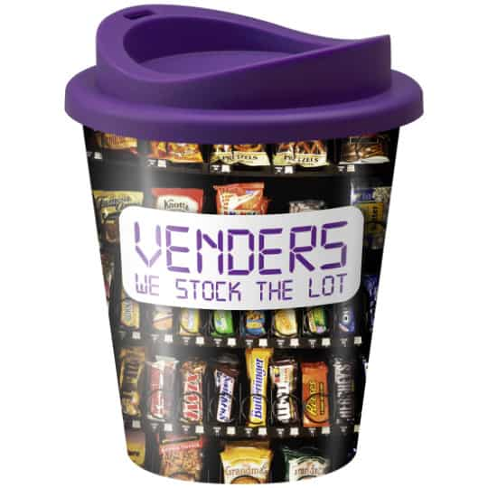 320ml universal vending printed travel mugs with purple lid pfn1305