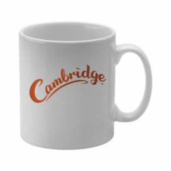 330ml earthenware Cambridge promotional mugs in white pfn1270