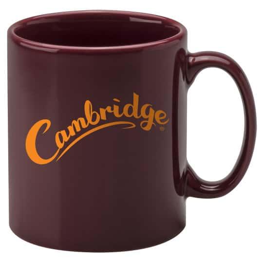 330ml earthenware Cambridge promotional mugs in cranberry pfn1270