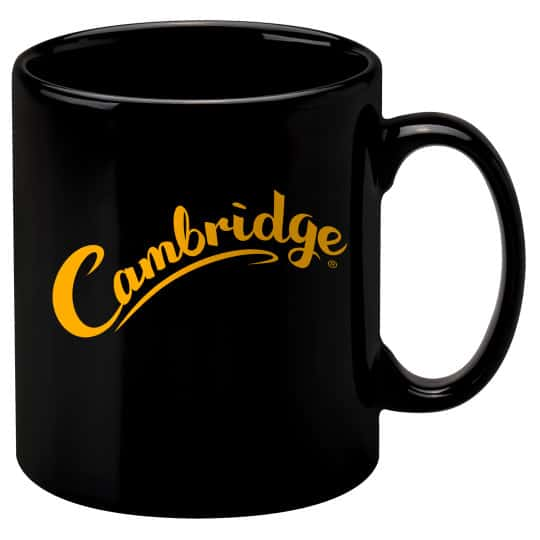 330ml earthenware Cambridge promotional mugs in black pfn1270