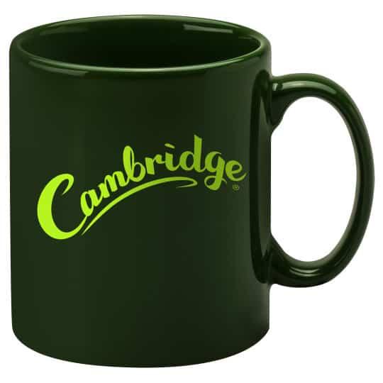 330ml earthenware Cambridge promotional mugs in racing green pfn1270