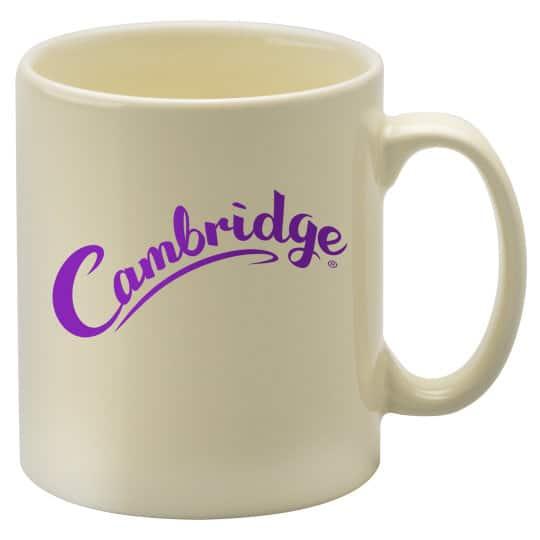 330ml earthenware Cambridge promotional mugs in ivory pfn1270