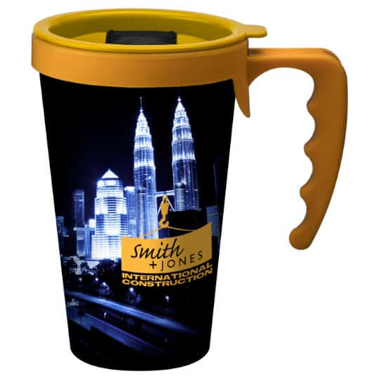 350ml universal printed travel mugs with handle with slide lid pfn1303