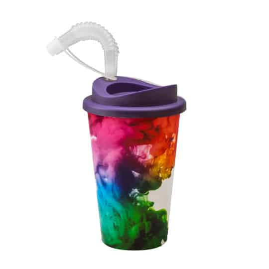 350ml universal printed travel mugs without handle with straw lid pfn1302