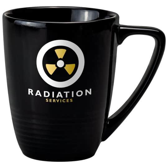 400ml earthenware quantum promotional mugs in black pfn1285