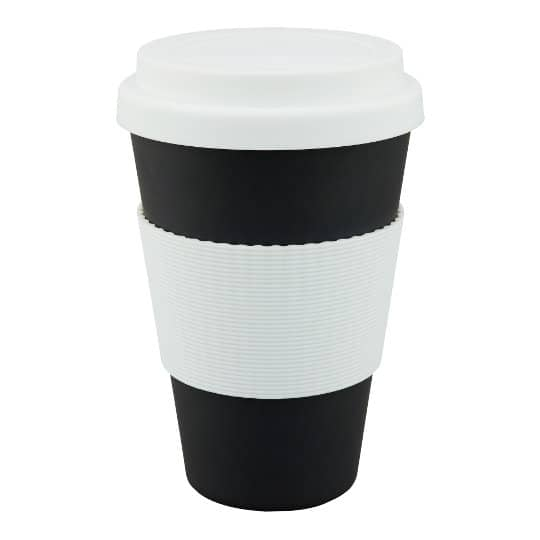 430ml bamboo fibre printed travel mugs in black pfn1192
