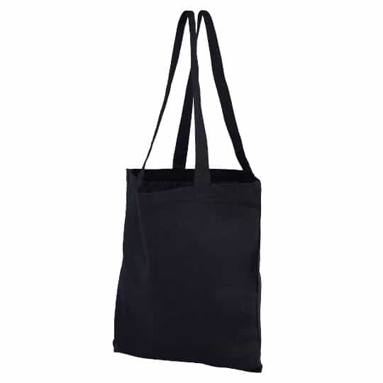 4oz Brixton coloured sustainable cotton promotional shopping bags in black pfn1163