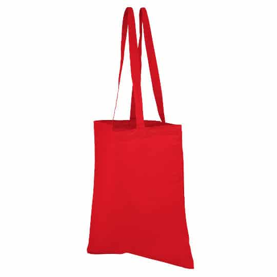 4oz Brixton coloured sustainable cotton promotional shopping bags in red pfn1163