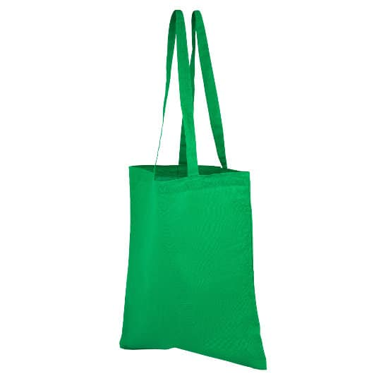 4oz Brixton coloured sustainable cotton promotional shopping bags in green side view pfn1163