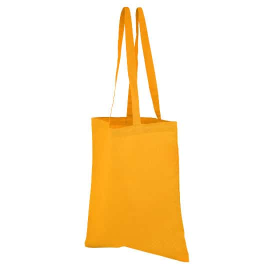 4oz Brixton coloured sustainable cotton promotional shopping bags in yellow pfn1163