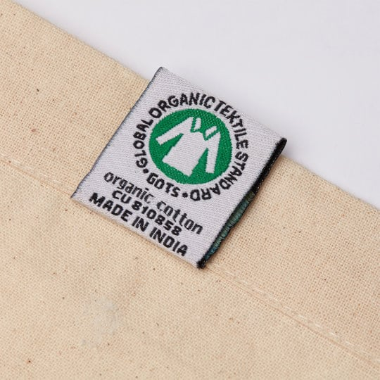 4oz Portobello organic cotton promotional shopping bags organic tag pfn1184