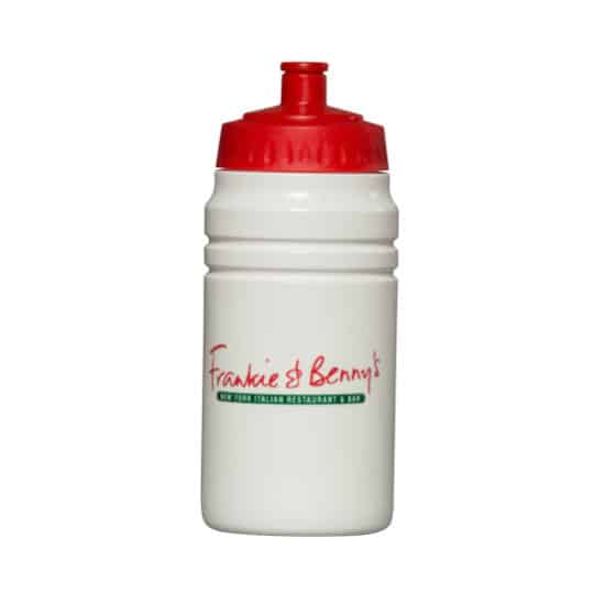500ml energize promotional sports bottles in white and red pfn1148