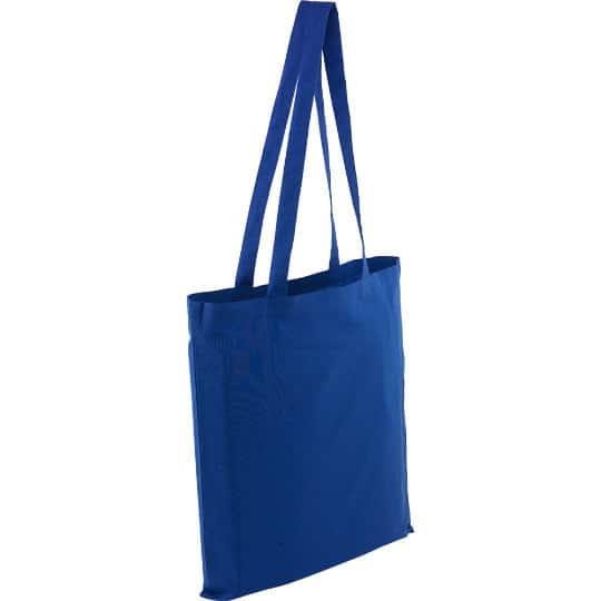 5oz Kingsbridge printed cotton tote bags in blue pfn1576