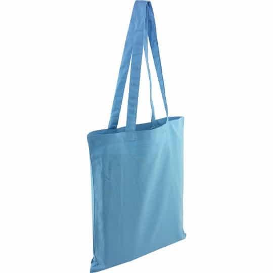 5oz Kingsbridge printed cotton tote bags in light blue pfn1576