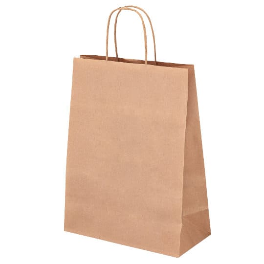 A4 100gsm sustainable paper printed carrier bags in brown showing gusset pfn1160