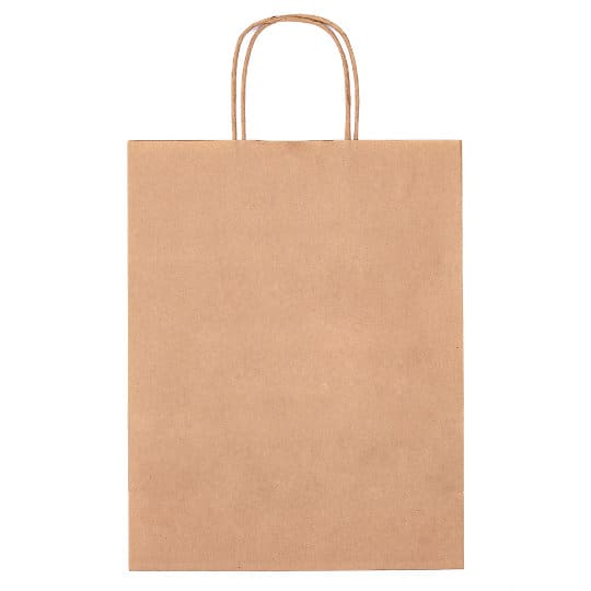 A4 100gsm sustainable paper printed carrier bags in brown flat pfn1160