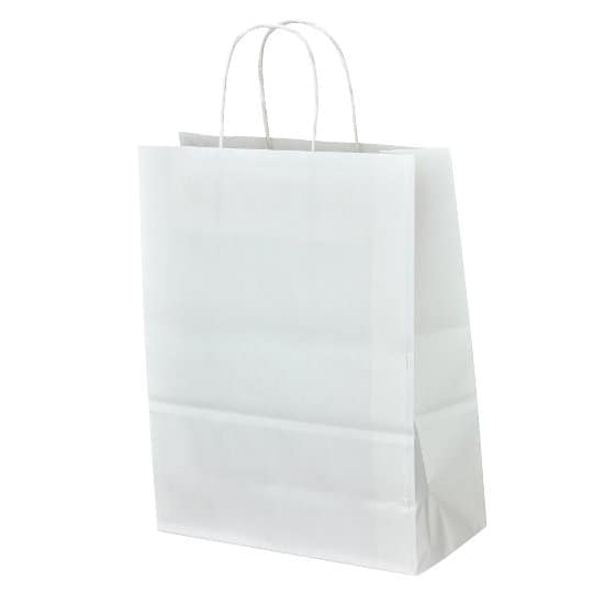 A4 100gsm sustainable paper printed carrier bags in white showing gusset pfn1160