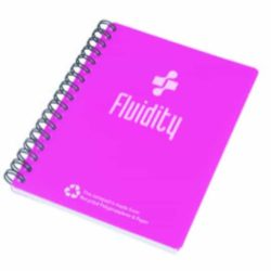 A6 printed wiro notebooks with recycled polyprop cover pfn1018