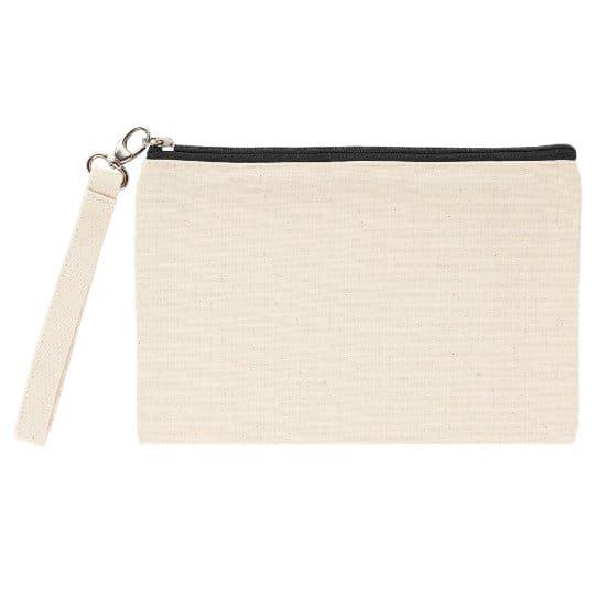 Ascot organic canvas promotional cosmetic bags black zip pfn1161