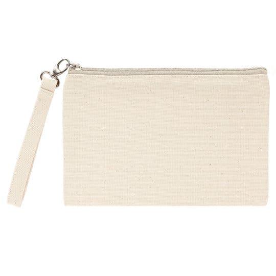 Ascot organic canvas promotional cosmetic bags natural zip pfn1161