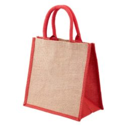 Brighton coloured printed jute shopping bags in red