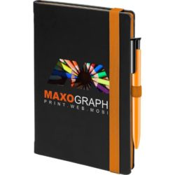 Cody promotional notebooks with an orange trim and pen pfn1509