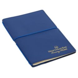 Copenhagen promotional recycled leather notebooks in blue side view pfn1206