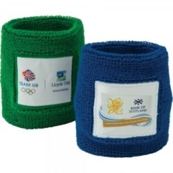 Cotton promotional towelling sweatbands branded with logos pfn1325
