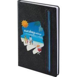 Denim promotional black notebooks with a blue trim pfn1515
