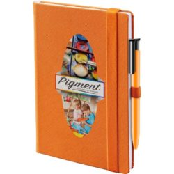 Denim promotional notebooks in orange pfn1516