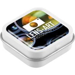 Domed promotional mint tins branded with a logo pfn1529