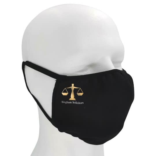 Double layer printed face masks branded with a logo side view pfn1958