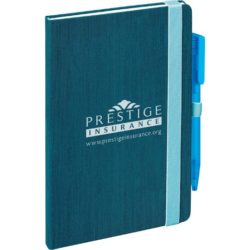 Fabrica textured promotional hard cover notebooks in blue pfn1519