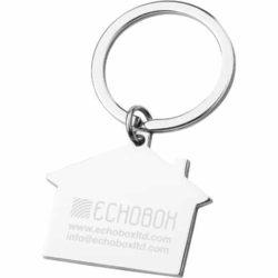 House shaped metal promotional keyrings engraved pfn1609
