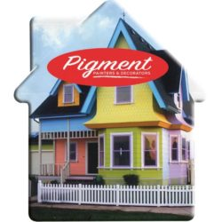 House shaped promotional mint packs branded with a logo pfn1533