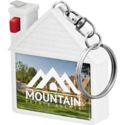 House shaped promotional tape measure keyrings branded pfn1587